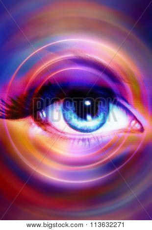 Woman Eye and light circle, abstract color background, eye contact.