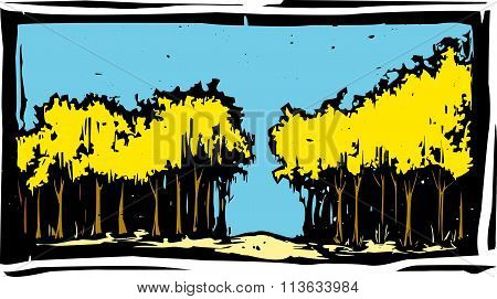 Woodcut Autumn Trees