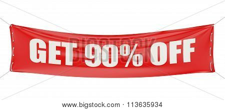 Get 90 % Off Discount Concept On The Red Banner