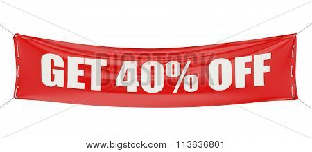 Sale Discount Get 40 % Off Concept On The Red Banner