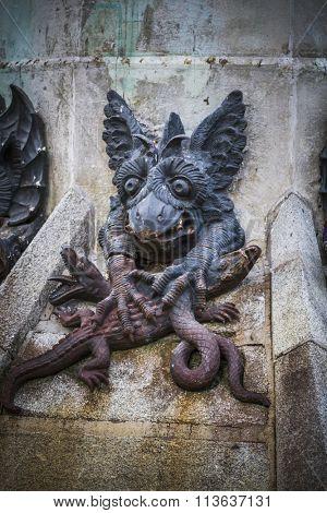 devil figure, bronze sculpture with demonic gargoyles and monsters