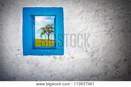 Blue Window On White Wall