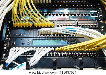 network server equipment with optical fibre cables