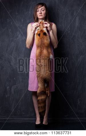 Woman Hands Holding Fox Fur