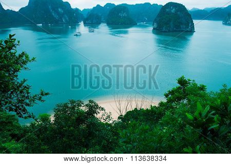 Islands And Beach In Halong Bay
