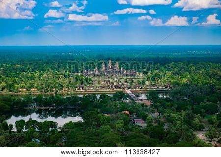 Beautiful Aerial View Of Angkor Wat Temple