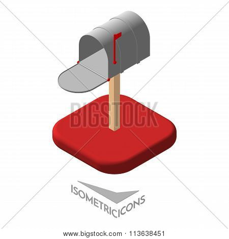 Isometric mail icons 3D. Pictograms mailbox email. Isolated vector illustration