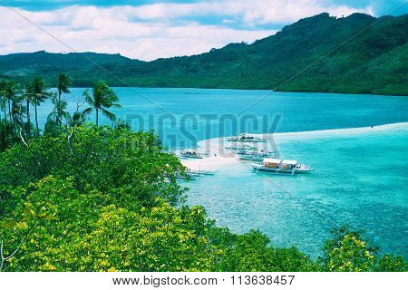 Tropical Landscape, Sea Bay And Mountain Islands