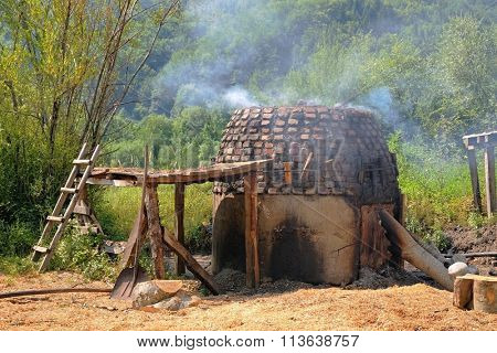 Traditional smoky charcoal furnace made of brick, Montenegro
