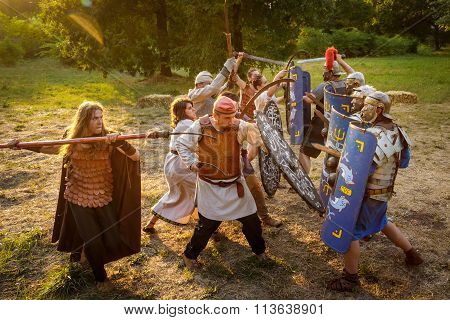 Neptun, Romania - July 28, 2015 - Ancient Festival - Reenactment Of The Roman And  Dacian (thracian)