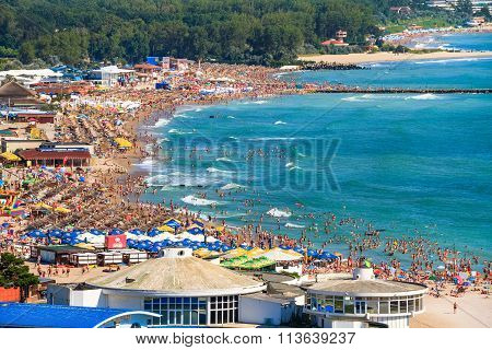 Birdseye Panoramic View Of A Crowded Beach