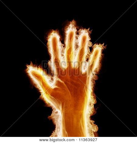 human hand open arms fire
