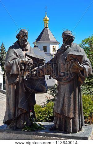 Kiev, Ukraine: June, 2014 - Ancient monument to Cyril and Methodius, Kiev Ukraine