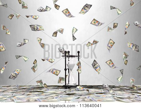 Hourglass And Flying Dollar Bills