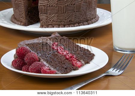 slice of raspberry chocolate cake on plate with glass of milk, close up