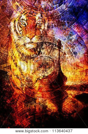 Viking Boat on the beach with wood dragon and Tiger head, and Ancient Mayan Calendar, abstract color