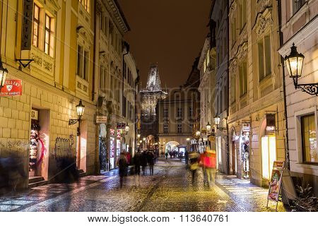 View Along Celetna Street In Prague At Night