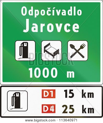 Road Sign Used In Slovakia - Rest Area Notice. Odpocivadlo Means Rest Area