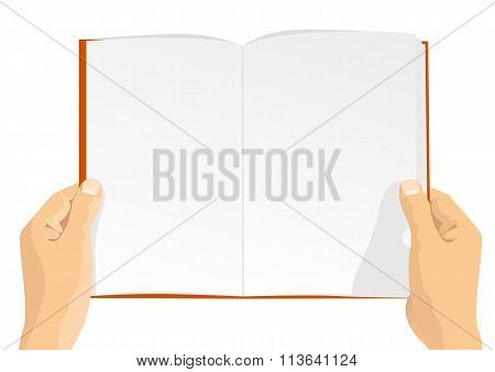 hands holding a blank book with copy space for text