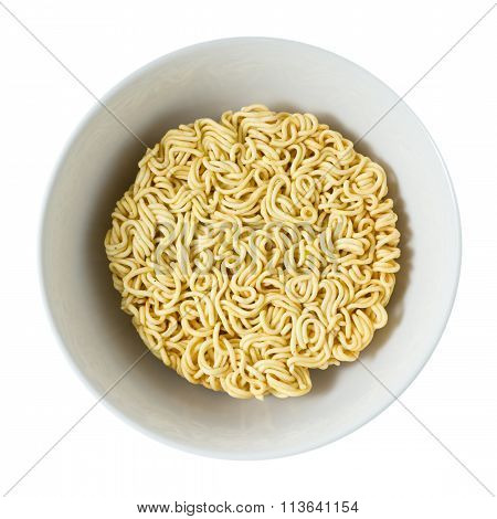 Bowl Of Asian Ramen Or Instant Noodles On White