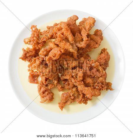 Top View Of Thai Street Food Deep Fried Chicken Skins