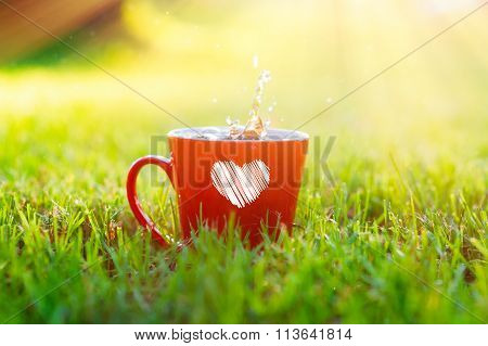 Red Mug With A Heart Standing On The Grass In Park