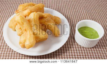 Deep Fried Doughstick With Green Custard Cream