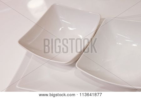 Set Of White Porcelain Dishes, Bowls And Plates