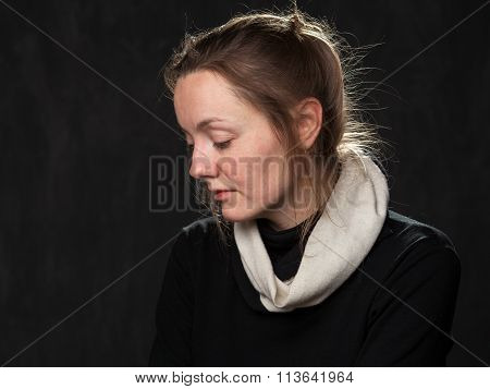 Portrait Of A Young Sad Disoriented Woman