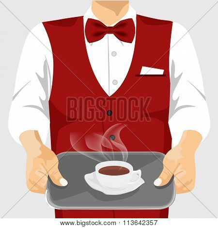 Waiter serving cup of coffee on silver tray