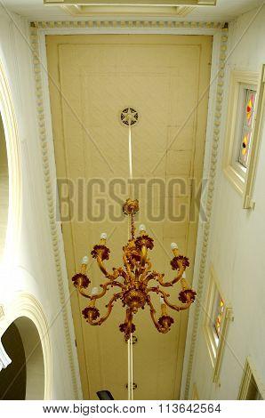 Chandelier of Sultan Abu Bakar State Mosque in Johor Bharu, Malaysia