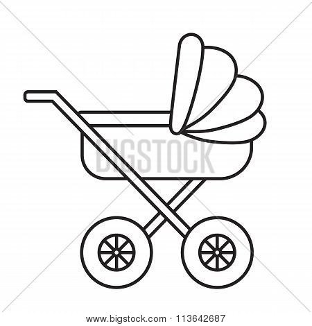 Baby Pram Outline Icon On White Background.