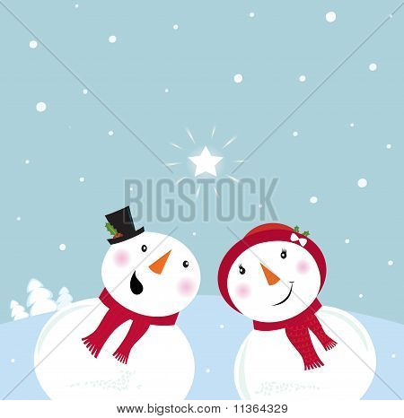 Valentine´s Day: Snowman & Snow - woman. Snowy couple in love