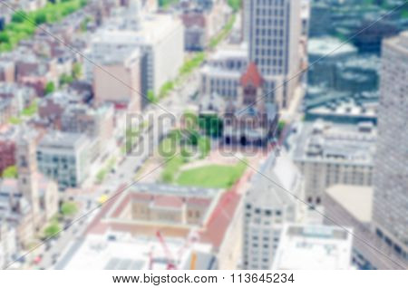 Defocused Background With Aerial View Of Copley Square In Boston