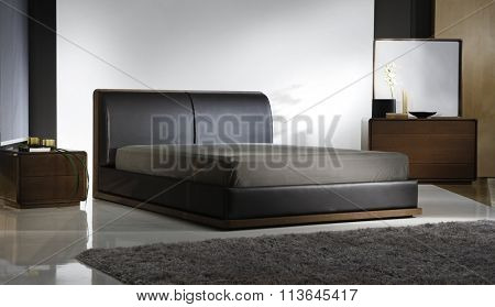 ATMOSPHERIC BEDROOM INTERIOR . BLACK LEATHER BED .