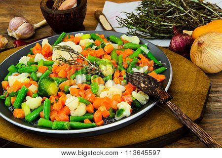 Mexican Mix of Vegetables. Tomatoes, Celery Root, Green Beans, P