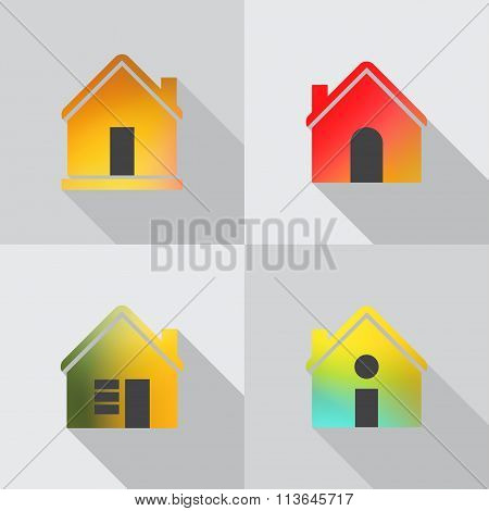 Color House Icon On Grey