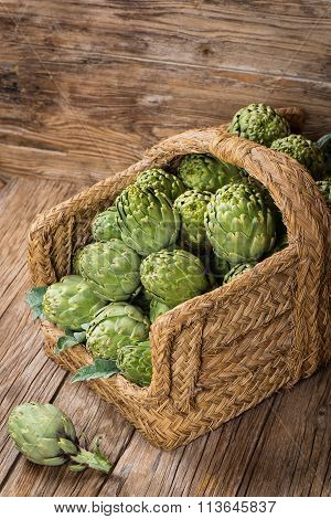 Fresh Artichokes In A Basket