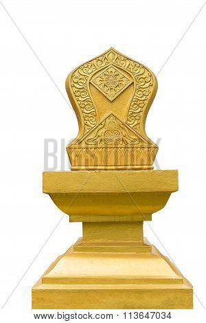 Sema gold buddhism  isolated  on white background