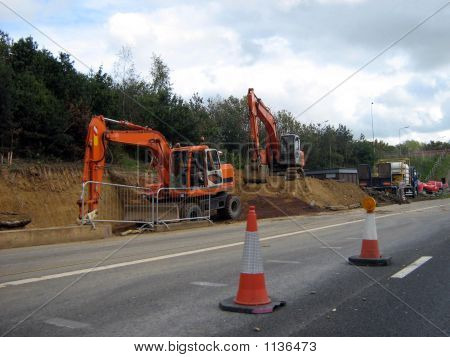 Road Works/Road Construction.Transport.Excavatore/Digger & Truck/Lorry.