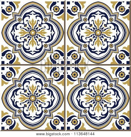 Vintage seamless wall tiles of yellow blue spiral flower, Moroccan, Portuguese.