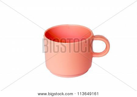 pink plastic cups on white background