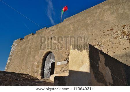 Facade of the medieval castle of Castro Marim