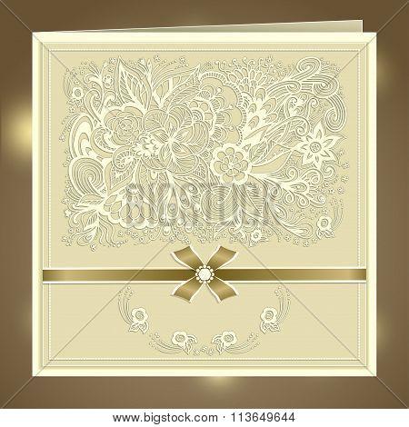 Wedding invitation with Zen-doodle flowers bow ribbon rhinestones in beige