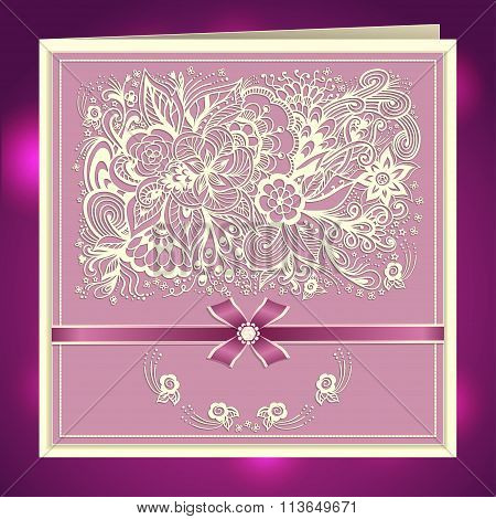 Wedding invitation with Zen-doodle flowers bow ribbon rhinestones in lilac pink