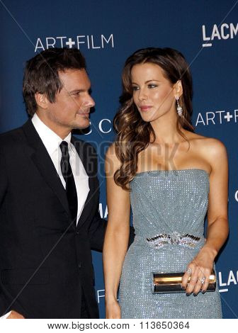 Kate Beckinsale and Len Wiseman at the LACMA 2013 Art + Film Gala Honoring Martin Scorsese And David Hockney Presented By Gucci held at the LACMA in Los Angeles, USA on November 2, 2013.