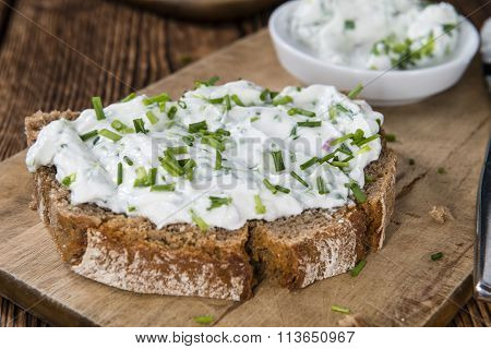 Slice Of Bread With Herb Curd
