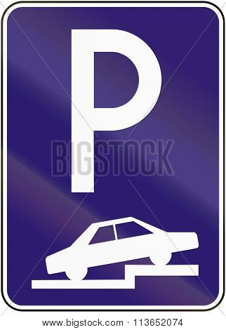 Road Sign Used In Slovakia - Parking Perpendicular Or Diagonal On The Pavement