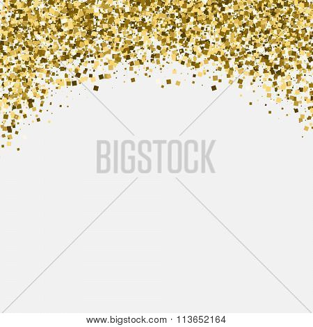 Gold glitter shimmery heading. Invitation card or flyer with sparkling top.