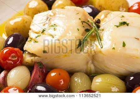 A Typical Portuguese Dish With Codfish Called Bacalhau Do Porto.